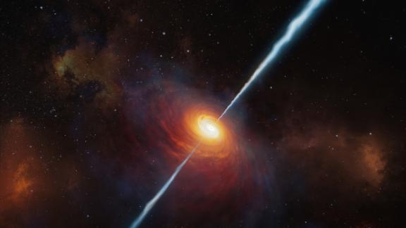 This artist's impression shows how the distant quasar P172+18 and its radio jets may have looked 13 billion years ago. The light from the quasar has taken that long to reach us, so astronomers observed the quasar as it looked in the early universe.