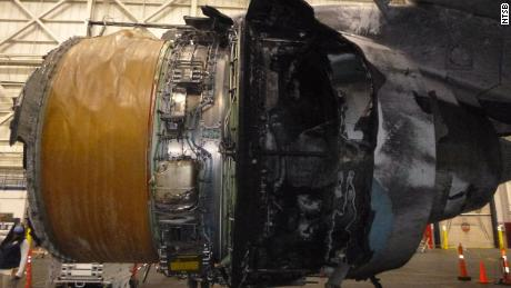 Fire damage is visible on United Airlines Flight 328's right engine in this undated photo from the National Transportation Safety Board.
