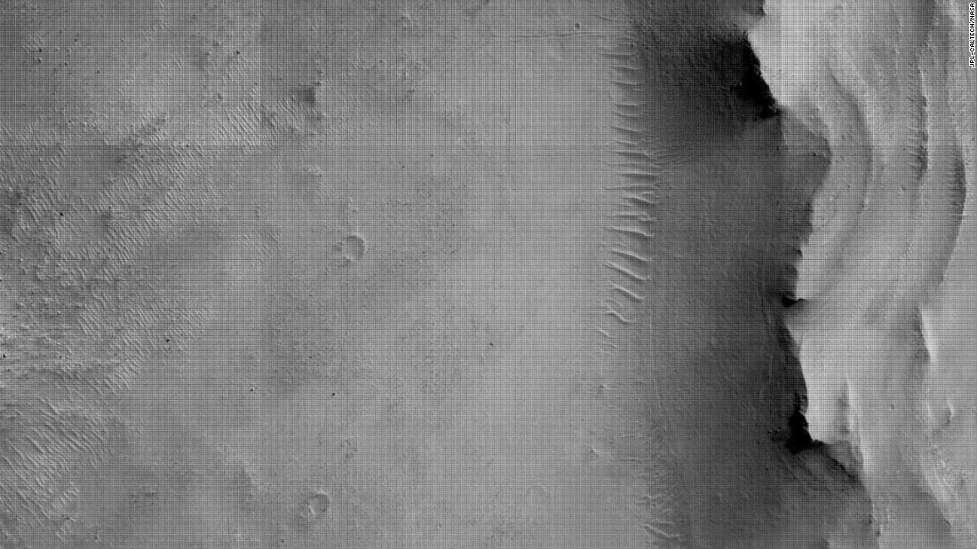 This image of Mars' surface was taken using a camera mounted to the bottom of the rover.