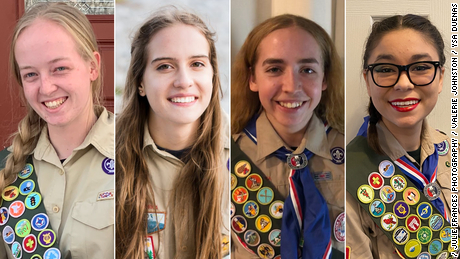 Four of the first female Eagle Scouts, from left to right: Lauren Krimm, Mia Dawbin, Valerie Johnston and Ysa Duenas.