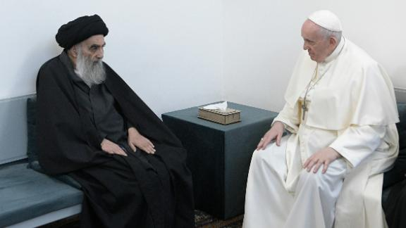 Pope Francis meets with Iraq's leading Shiite cleric, Grand Ayatollah Ali al-Sistani in Najaf, Iraq, Saturday, March 6, 2021. The closed-door meeting was expected to touch on issues plaguing Iraq's Christian minority. Al-Sistani is a deeply revered figure in Shiite-majority Iraq and and his opinions on religious matters are sought by Shiites worldwide.