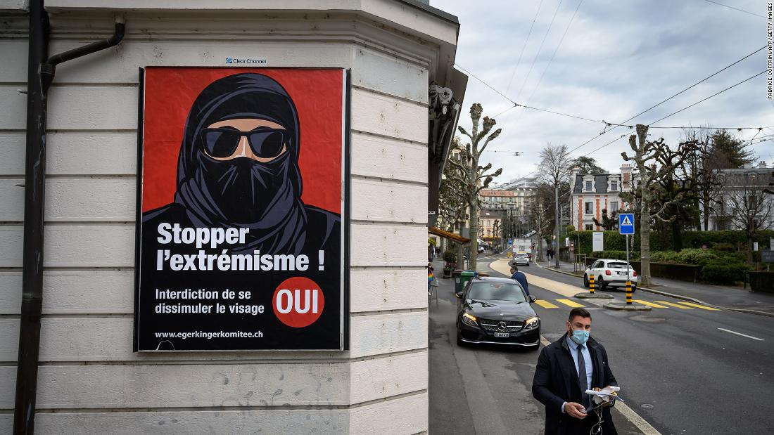 Switzerland narrowly votes to ban face covering in public
