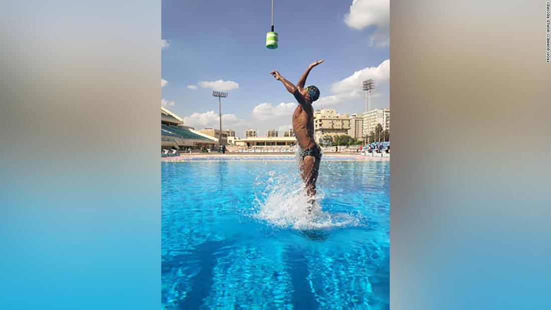 Swimmer takes the art of leaping out of water to new heights
