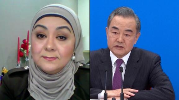 Uyghur journalist Gulchehra Hoja, an anchor for US government-funded Radio Free Asia, reacts to Beijing's dismissal of claims of genocide in Xinjiang, China.