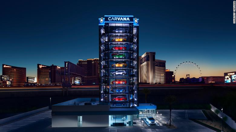 """Carvana customers can have their vehicle dispensed out of a """"car vending machine"""" or, in this case, a """"car slot machine"""" in Las Vegas."""