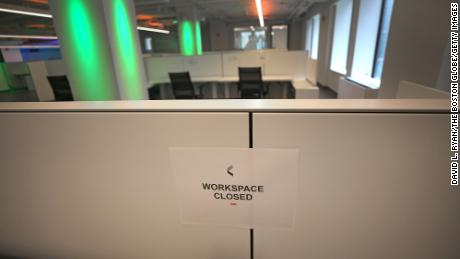 A work station closed for social distancing at Catapult's offices in Boston.