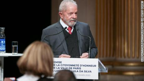 Former Brazilian president Luiz Inacio Lula da Silva speaks during a ceremony at the City Hall of Paris, on March 2, 2020.
