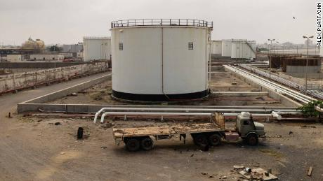 The port of Hodeidah's fuel storage facility, running dry. The last shipment of oil arrived on December 30 last year.