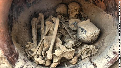 A man and a woman were found buried in the tomb.