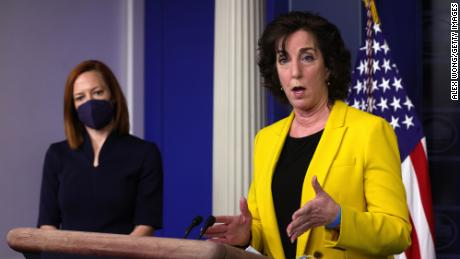 Roberta Jacobson speaks as White House press secretary Jen Psaki listens during a daily press briefing in March.