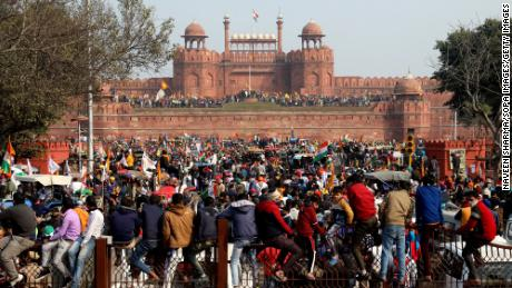Protesters gather at the New Delhi's historic Red Fort during a demonstration on January 26, 2021.