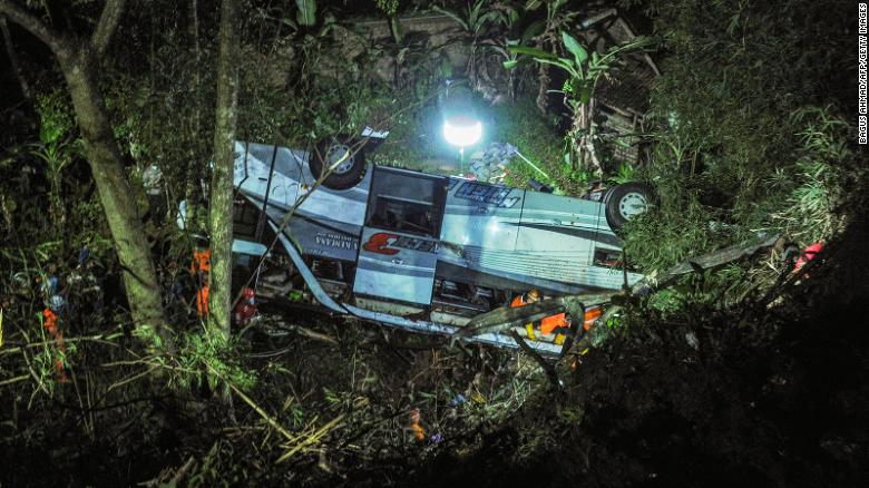 Indonesia bus carrying school children plunges into ravine, killing 27