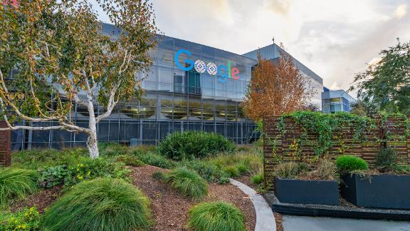 MOUNTAIN VIEW, USA - November 18, 2020, view of the main Google office building. It is a multinational corporation specializing in services and products related to the Internet service.