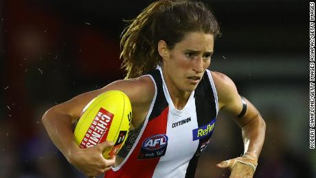 Cat Phillips of the Saints runs with the ball during the round 1 AFLW match between the St Kilda Saints and the Western Bulldogs at RSEA Park on January 29, 2021 in Melbourne, Australia.