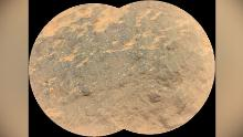 "Combining two images, this mosaic shows a close-up view of the rock target named ""Yeehgo"" from the SuperCam instrument on NASA's Perseverance rover on Mars. The component images were taken by SuperCam's Remote Micro-Imager (RMI) on March 7, 2021 (the 16th Martian day, or sol, of Perseverance's mission on Mars). To be compatible with the rover's software, ""Yeehgo"" is an alternative spelling of ""Yéigo,"" the Navajo word for diligent."