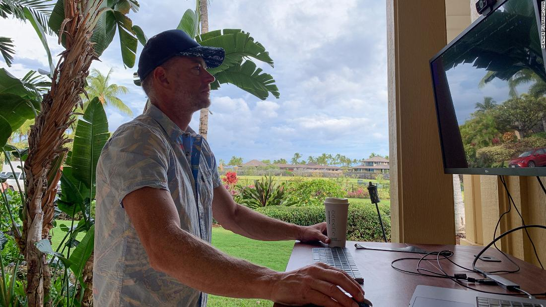 Alan Gilchrest, who works for LivePerson, relocated from Seattle to Hawaii when his company went  remote last March. He currently works from his lanai-turned-home-office, at his home on the Big Island.