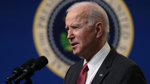 WASHINGTON, DC - FEBRUARY 10:  U.S. President Joe Biden speaks as he makes a statement at the South Court Auditorium at Eisenhower Executive Building February 10, 2021 in Washington, DC. President Biden made a statement on the coup in Burma.  (Photo by Alex Wong/Getty Images)