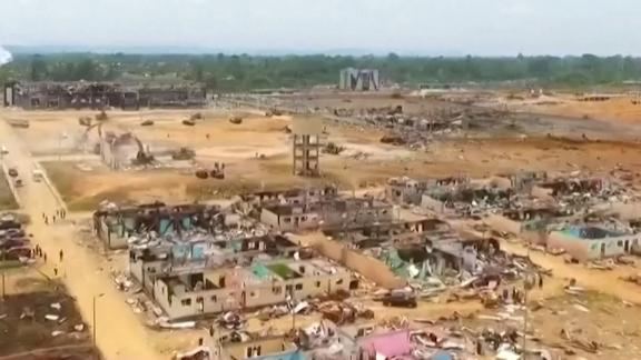 Video thumbnail showing drone footage from blast in Equatorial Guinea