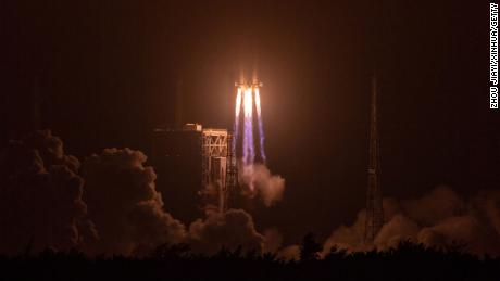 China's Long March 7A rocket blasts off from the Wenchang Spacecraft Launch Site in Hainan Province on March 12.