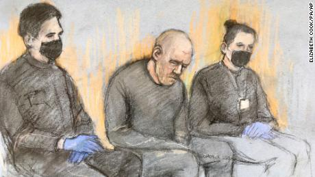 A courtroom sketch of Wayne Couzens at Westminster Magistrates' Court in London on Saturday, March 13.