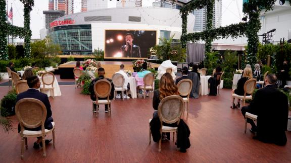 A small audience is spread out near the awards stage, which was put in front of the Staples Center.