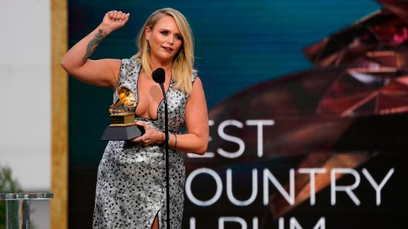 """Lambert accepts the award for best country album (""""Wildcard"""")."""