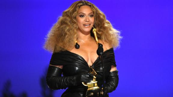 """Beyoncé accepts the Grammy Award for best R&B performance (""""Black Parade"""") on Sunday night. The win gave her the most Grammys ever by a female artist (28)."""