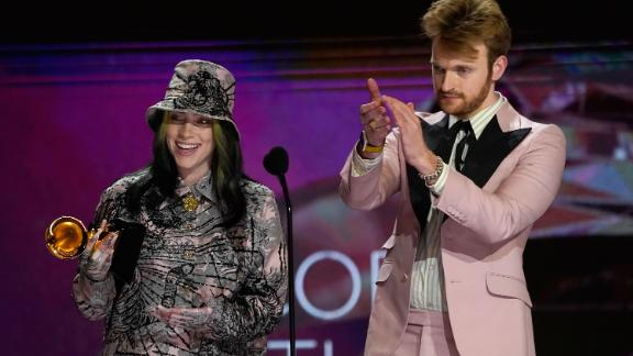 """Billie Eilish and Finneas accept the Grammy for record of the year (""""Everything I Wanted""""). It is the second straight year Eilish has won the award."""