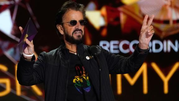Ringo Starr presents the record of the year Grammy.