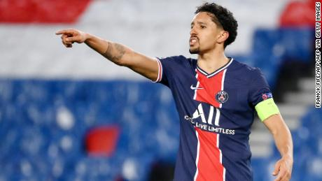 Marquinhos gestures during PSG's Champions League match against Barcelona earlier this month.