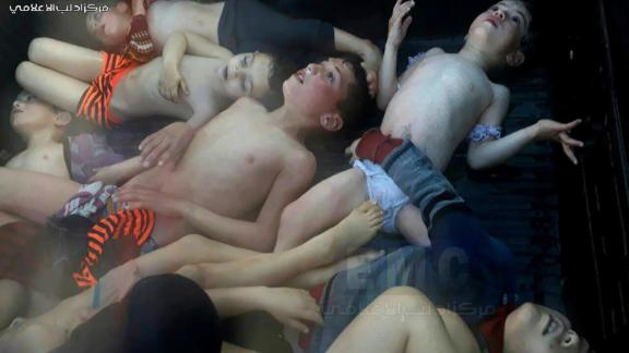 This photo, provided by the activist Idlib Media Center, shows dead children after a suspected chemical attack in the rebel-held city of Khan Sheikhoun on April 4, 2017. Dozens of people were killed, according to multiple activist groups. The United States responded a few days later by launching between 50-60 Tomahawk missiles at a Syrian government airbase. US officials said the base was home to warplanes that carried out the chemical attack. Syria has repeatedly denied it had anything to do with the attack.