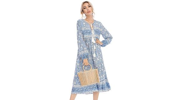 R.Vivimos Floral Print Retro Bohemian Midi Dress