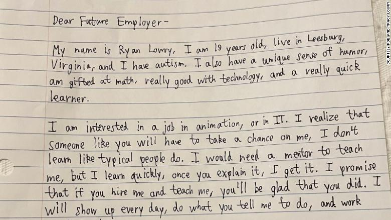 Ryan Lowry, 20, in Leesburg, Virginia, wrote this cover letter to potential employers.