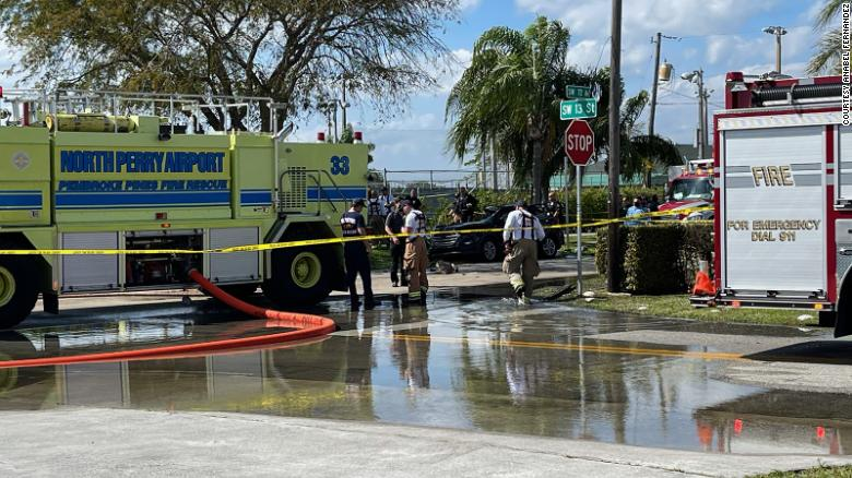 A small plane crashes into a car on a Florida road leaving two dead and two seriously injured