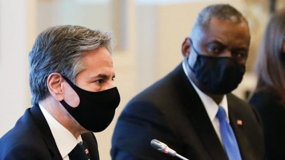 US Secretary of State Antony Blinken (L) and US Defense Secretary Lloyd Austin attend the 2+2 Meeting at Iikura Guest House in Tokyo on March 16, 2021. (Photo by KIM KYUNG-HOON / POOL / AFP) (Photo by KIM KYUNG-HOON/POOL/AFP via Getty Images)