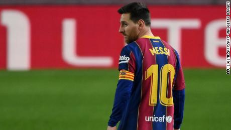 Lionel Messi equaled Xavi's all-time appearance record for the club.
