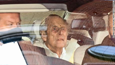Prince Philip seen leaving a central London hospital this week.