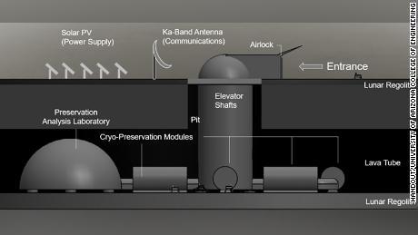 Un concepto de diseño de arco suministrado que muestra el arca dentro de los tubos de lava.