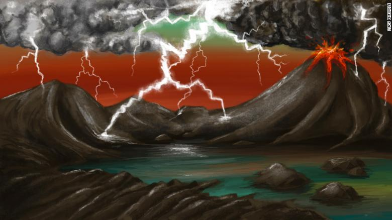 This artist's rendition of the early Earth environment shows lightning striking volcanic rocks, releasing phosphorus.
