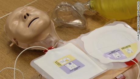 A CPR practice dummy at Lakewood High School's Athletic Lifestyle Management Academy in St. Petersburg, Florida.