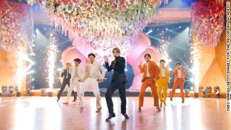 BTS perform during the 63rd Annual Grammy Awards on March 14, 2021.