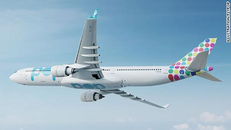 A rendering of Flypop's launch aircraft, the Airbus A330.