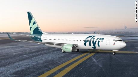 A rendering of Flyr's chosen aircraft, the Boeing 737-800.