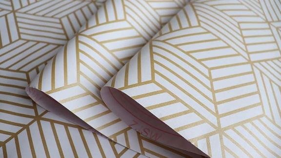 Dwind Peel and Stick Wallpaper White and Gold Geometry