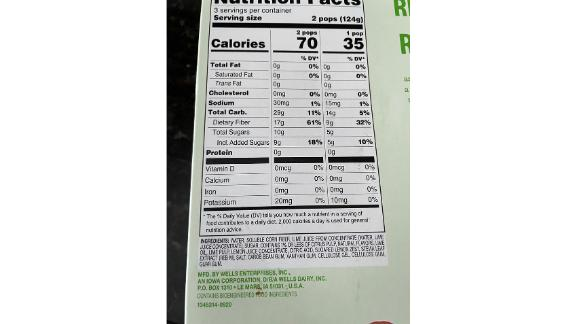 The nutrition label on one of the Halo Top Fruit Pop boxes