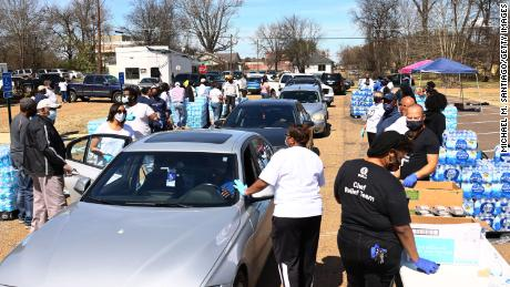 Volunteers at a water and food drive held by College Hill Baptist Church and the World Central Kitchen on March 7 in Jackson, Mississippi.