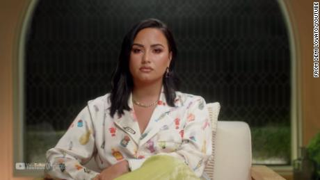 Pop star Demi Lovato opens up in a scene from her new docuseries.