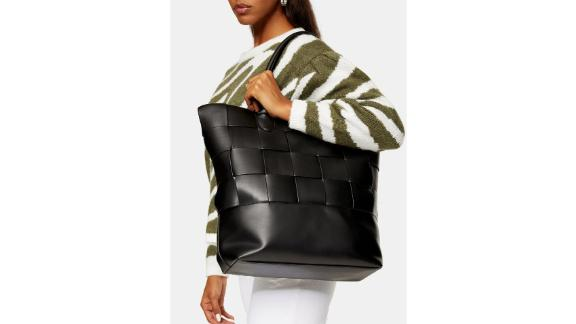 Topshop Weave synthetic leather bag