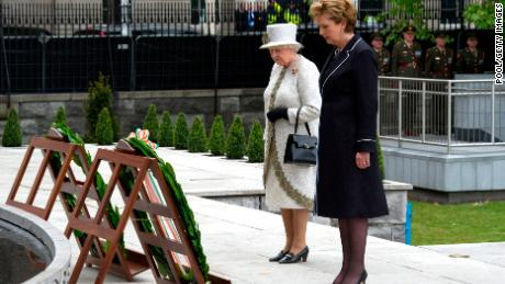 Queen Elizabeth and then-Irish President Mary McAleese laid a wreath at the Garden of Remembrance during the historic visit to Ireland in 2011.