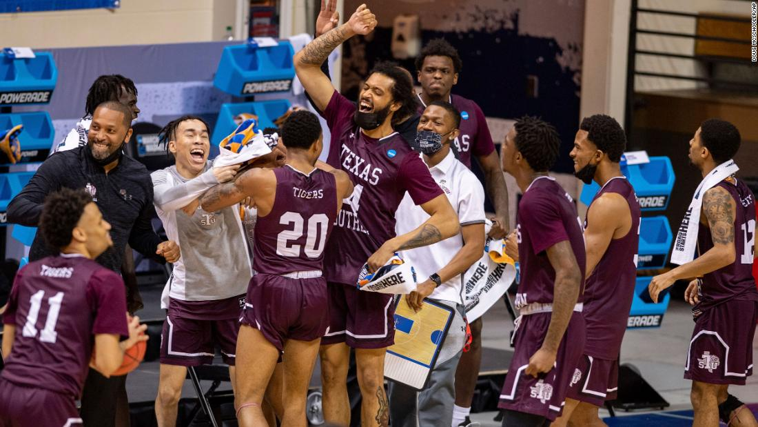 Texas Southern celebrates after defeating Mount St. Mary's 60-52 in the first game of the tournament.